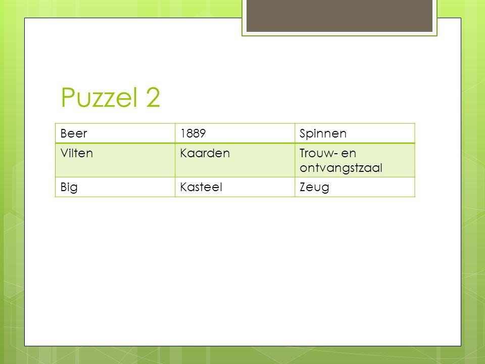 Puzzel 2 Beer1889Spinnen ViltenKaardenTrouw- en ontvangstzaal BigKasteelZeug