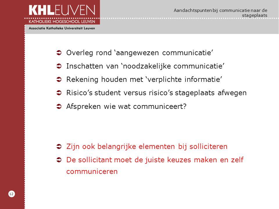 12 Aandachtspunten bij communicatie naar de stageplaats ÜOverleg rond 'aangewezen communicatie' ÜInschatten van 'noodzakelijke communicatie' ÜRekening