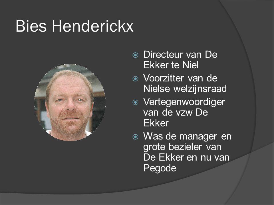 Bies Henderickx  Directeur van De Ekker te Niel  Voorzitter van de Nielse welzijnsraad  Vertegenwoordiger van de vzw De Ekker  Was de manager en grote bezieler van De Ekker en nu van Pegode