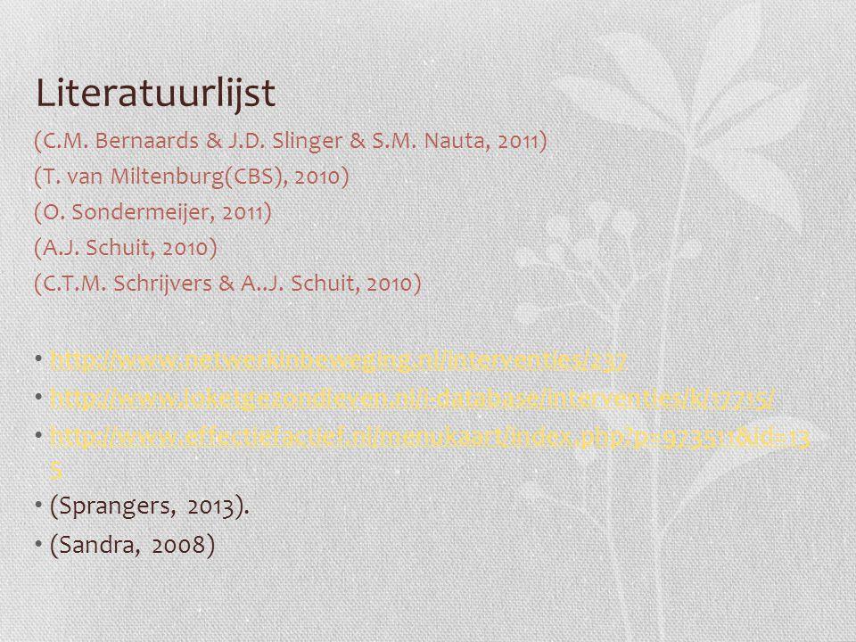 Literatuurlijst (C.M. Bernaards & J.D. Slinger & S.M. Nauta, 2011) (T. van Miltenburg(CBS), 2010) (O. Sondermeijer, 2011) (A.J. Schuit, 2010) (C.T.M.