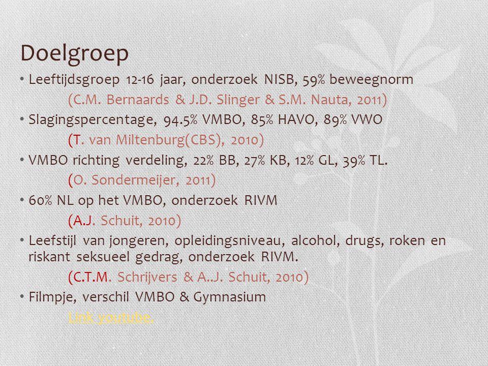 Doelgroep Leeftijdsgroep 12-16 jaar, onderzoek NISB, 59% beweegnorm (C.M. Bernaards & J.D. Slinger & S.M. Nauta, 2011) Slagingspercentage, 94.5% VMBO,