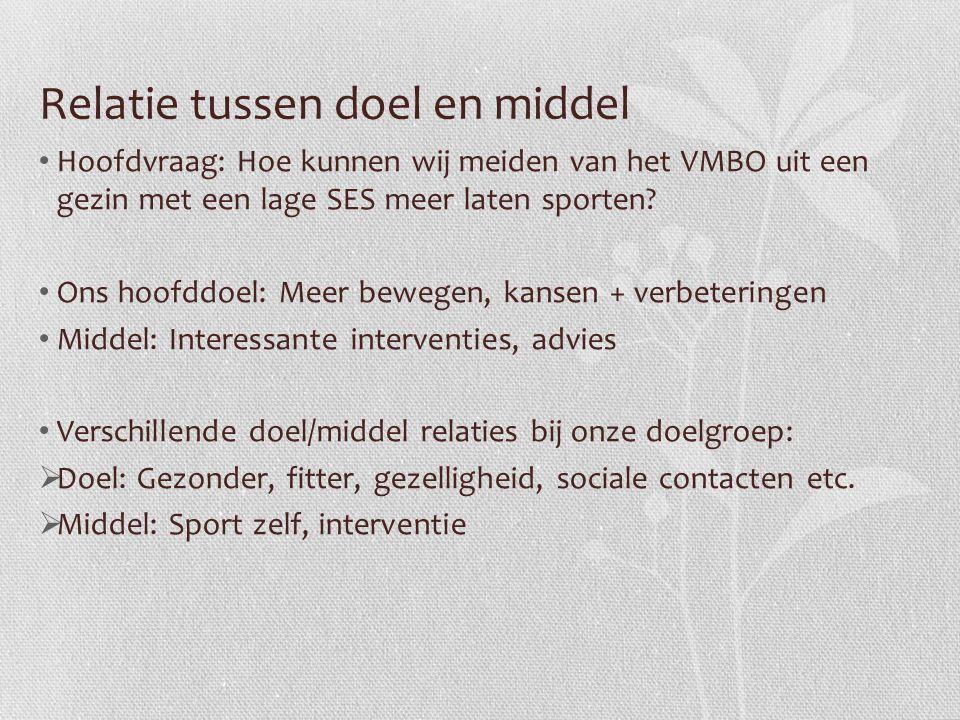 Relatie tussen doel en middel Hoofdvraag: Hoe kunnen wij meiden van het VMBO uit een gezin met een lage SES meer laten sporten? Ons hoofddoel: Meer be