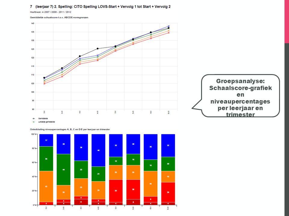 Groepsanalyse: Schaalscore-grafiek en niveaupercentages per leerjaar en trimester