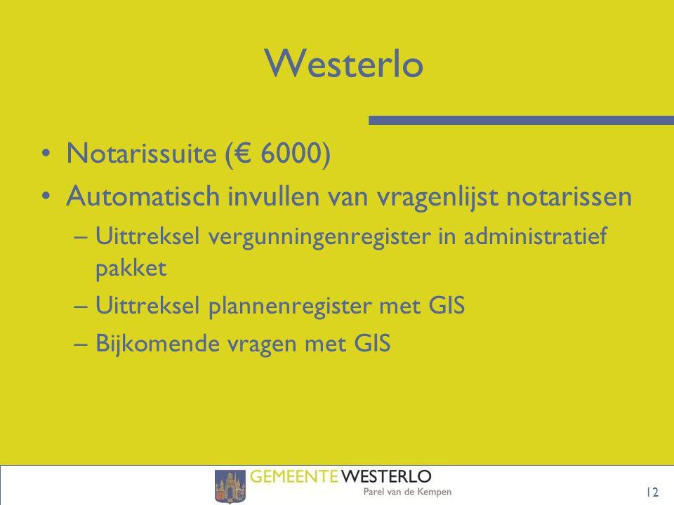 12 Westerlo Notarissuite (€ 6000) Automatisch invullen van vragenlijst notarissen –Uittreksel vergunningenregister in administratief pakket –Uittreksel plannenregister met GIS –Bijkomende vragen met GIS