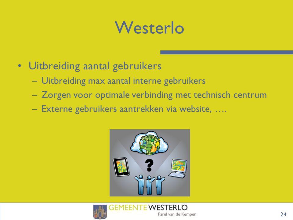 24 Westerlo Uitbreiding aantal gebruikers –Uitbreiding max aantal interne gebruikers –Zorgen voor optimale verbinding met technisch centrum –Externe gebruikers aantrekken via website, ….
