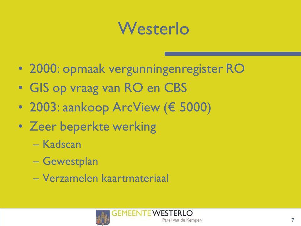 7 Westerlo 2000: opmaak vergunningenregister RO GIS op vraag van RO en CBS 2003: aankoop ArcView (€ 5000) Zeer beperkte werking –Kadscan –Gewestplan –Verzamelen kaartmateriaal