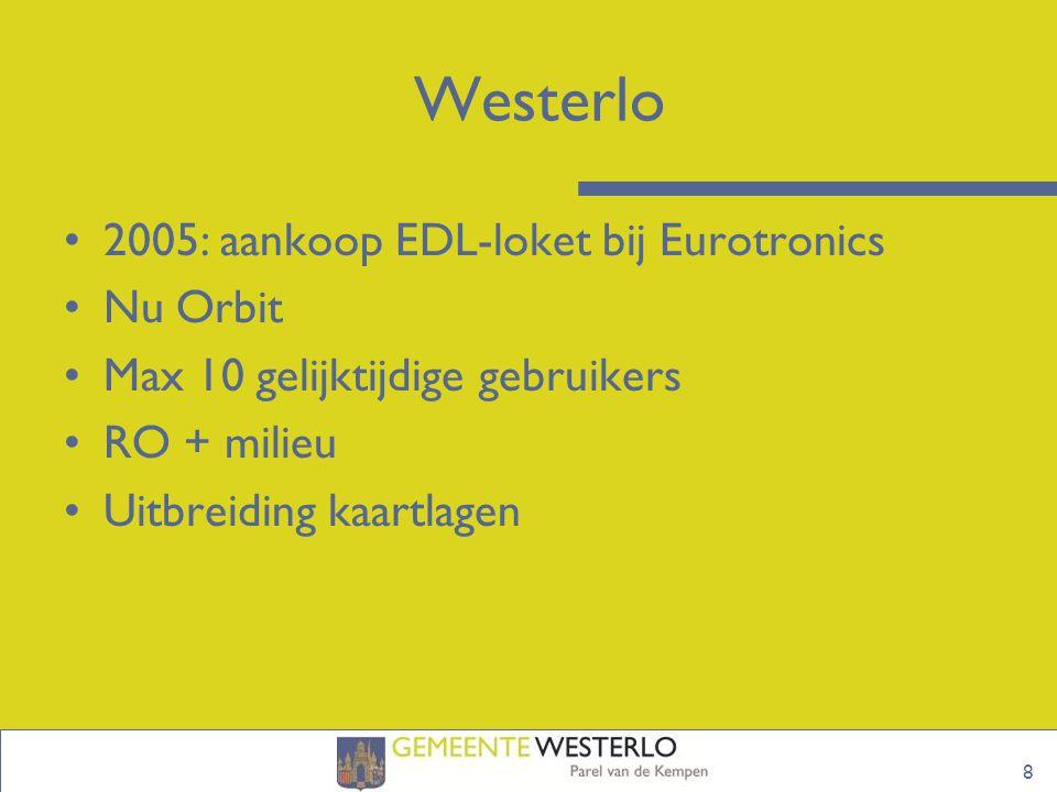 8 Westerlo 2005: aankoop EDL-loket bij Eurotronics Nu Orbit Max 10 gelijktijdige gebruikers RO + milieu Uitbreiding kaartlagen