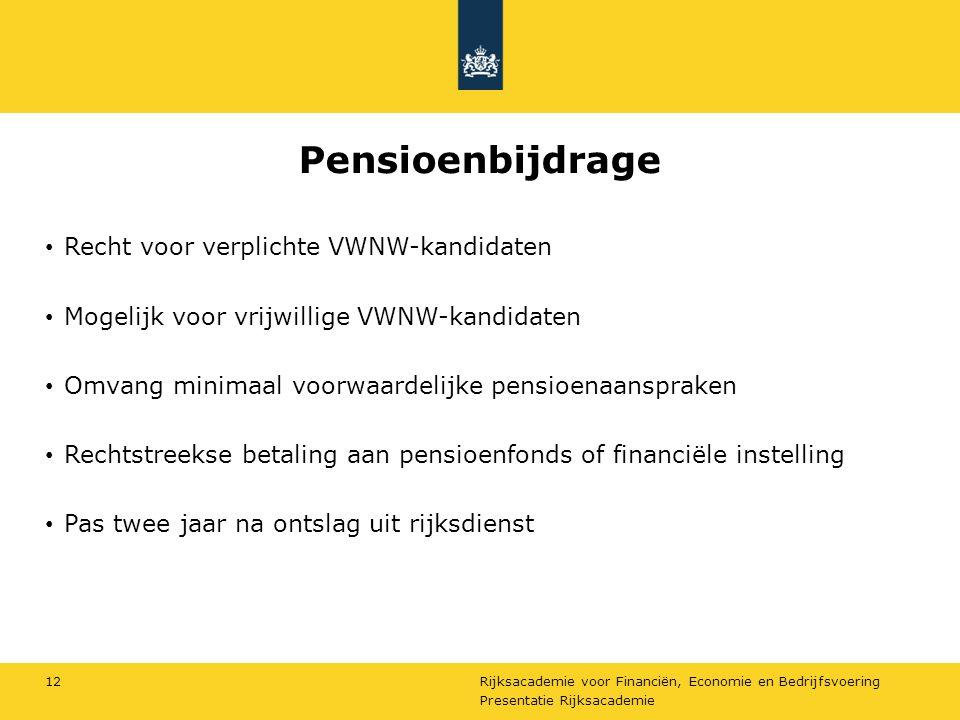 Rijksacademie voor Financiën, Economie en Bedrijfsvoering Pensioenbijdrage Recht voor verplichte VWNW-kandidaten Mogelijk voor vrijwillige VWNW-kandid