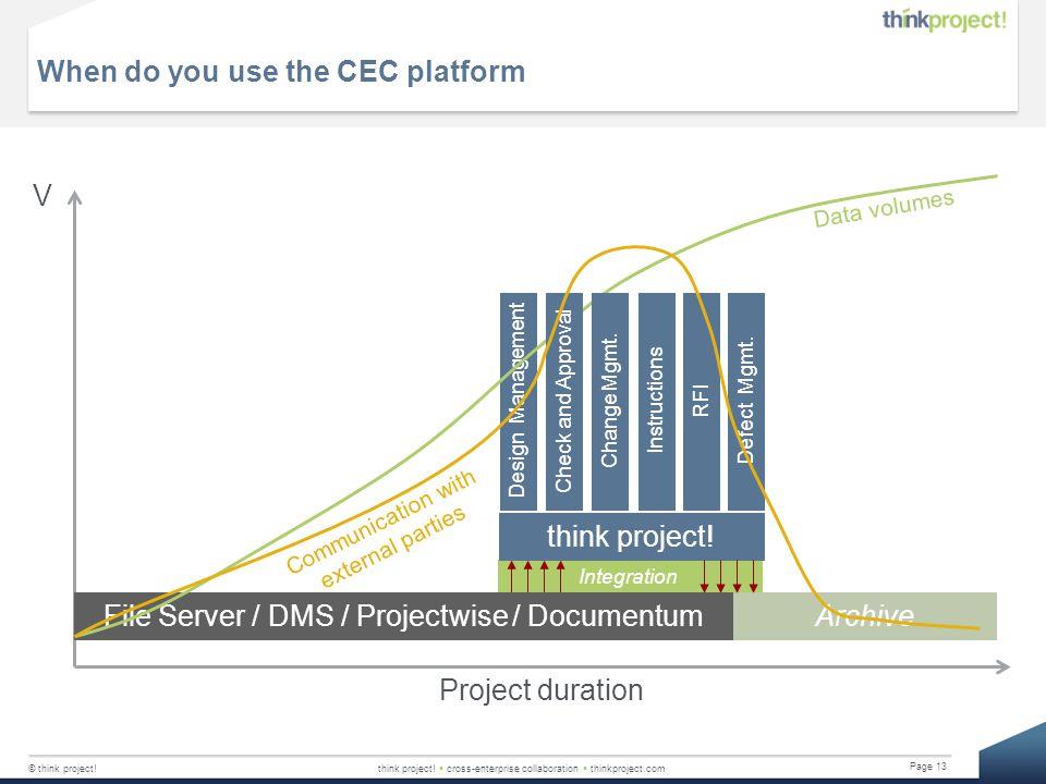 © think project!think project!  cross-enterprise collaboration  thinkproject.com Page 13 When do you use the CEC platform Design Management Integrat