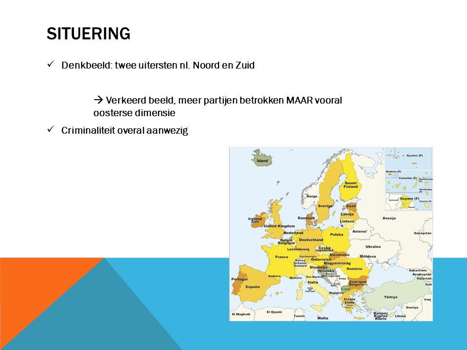 SITUERING Denkbeeld: twee uitersten nl. Noord en Zuid  Verkeerd beeld, meer partijen betrokken MAAR vooral oosterse dimensie Criminaliteit overal aan