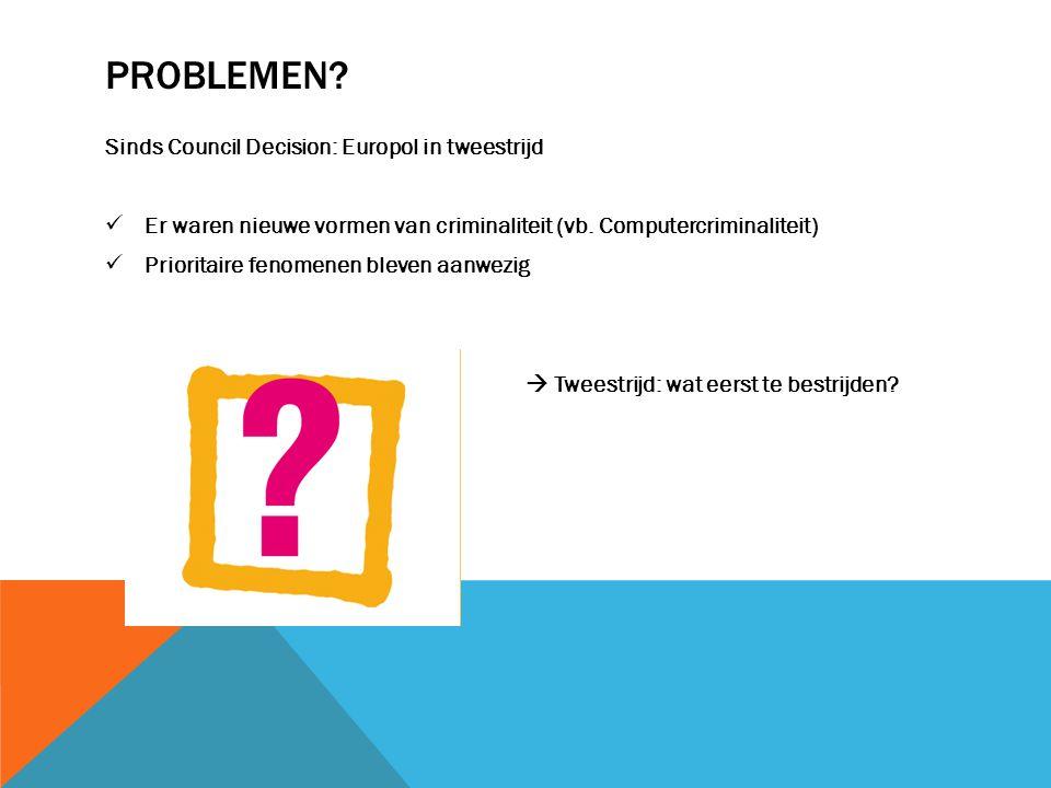 PROBLEMEN? Sinds Council Decision: Europol in tweestrijd Er waren nieuwe vormen van criminaliteit (vb. Computercriminaliteit) Prioritaire fenomenen bl