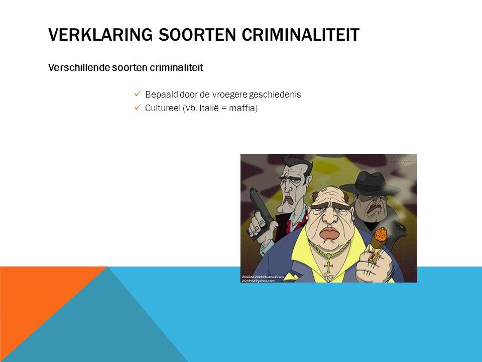 VERKLARING SOORTEN CRIMINALITEIT Verschillende soorten criminaliteit Bepaald door de vroegere geschiedenis Cultureel (vb. Italië = maffia)