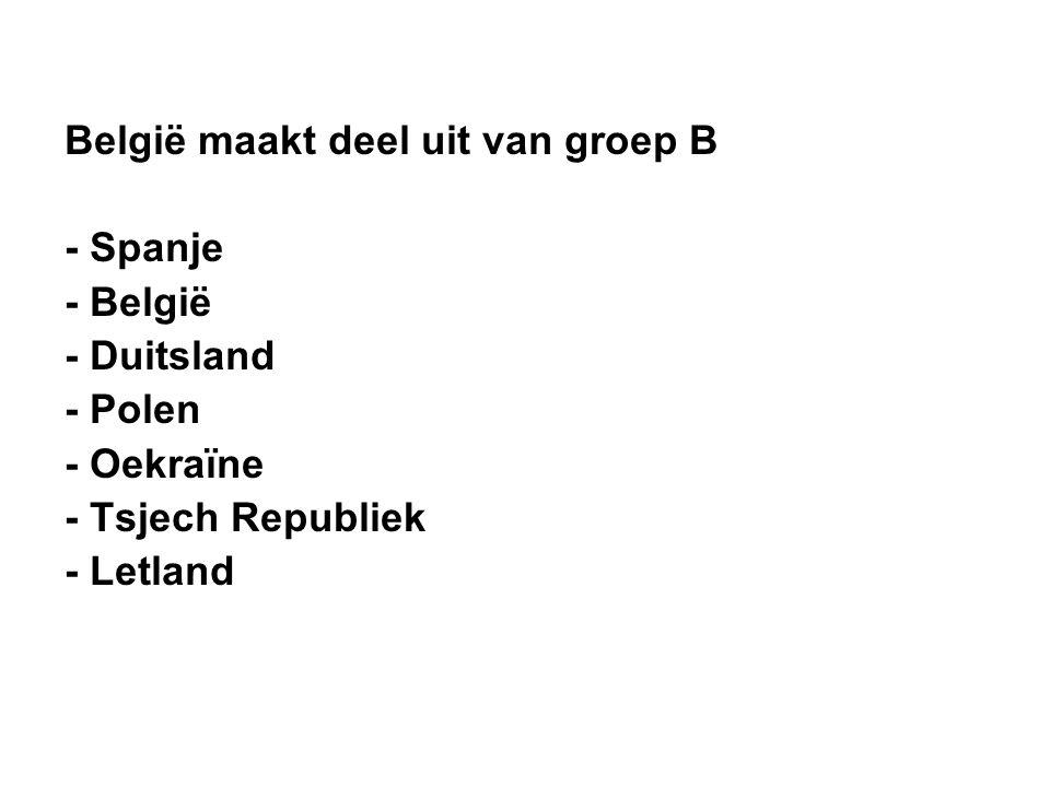 België maakt deel uit van groep B - Spanje - België - Duitsland - Polen - Oekraïne - Tsjech Republiek - Letland