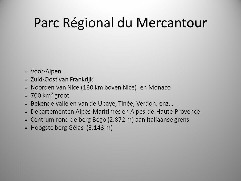 Parc Régional du Mercantour = Voor-Alpen = Zuid-Oost van Frankrijk = Noorden van Nice (160 km boven Nice) en Monaco = 700 km² groot = Bekende valleien van de Ubaye, Tinée, Verdon, enz… = Departementen Alpes-Maritimes en Alpes-de-Haute-Provence = Centrum rond de berg Bégo (2.872 m) aan Italiaanse grens = Hoogste berg Gélas (3.143 m)
