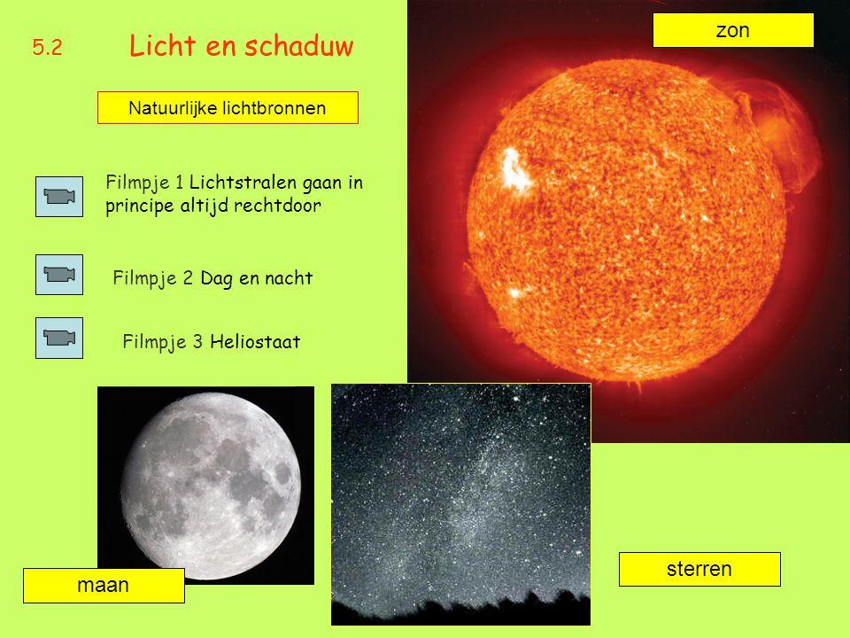 5.2 Licht en schaduw Filmpje 1 Lichtstralen gaan in principe altijd rechtdoor Natuurlijke lichtbronnen Filmpje 2 Dag en nacht zon maan sterren Filmpje