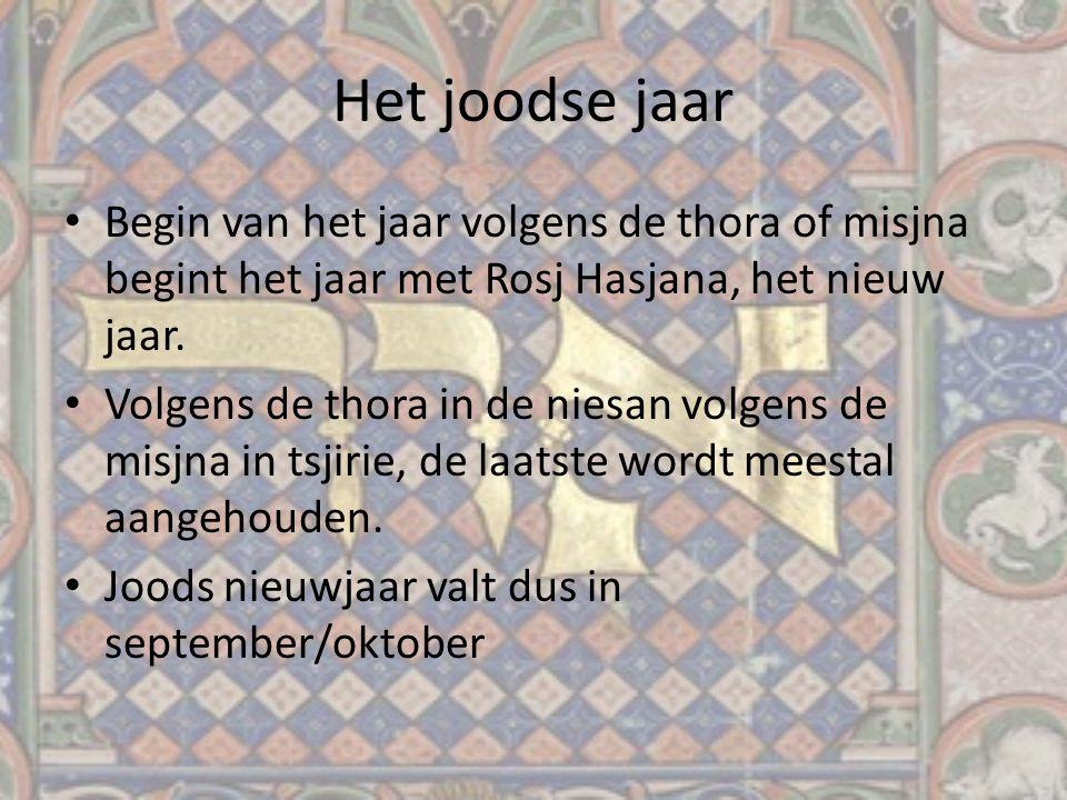Het joodse jaar Begin van het jaar volgens de thora of misjna begint het jaar met Rosj Hasjana, het nieuw jaar. Volgens de thora in de niesan volgens