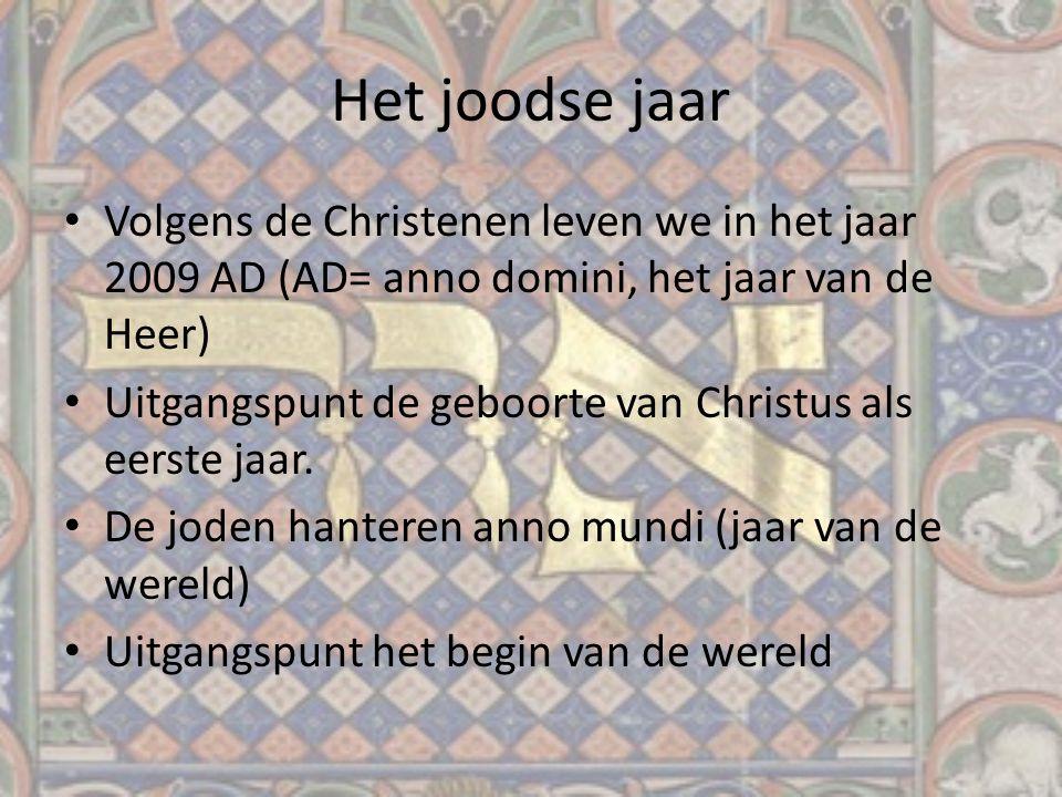 Het joodse jaar Volgens de Christenen leven we in het jaar 2009 AD (AD= anno domini, het jaar van de Heer) Uitgangspunt de geboorte van Christus als e