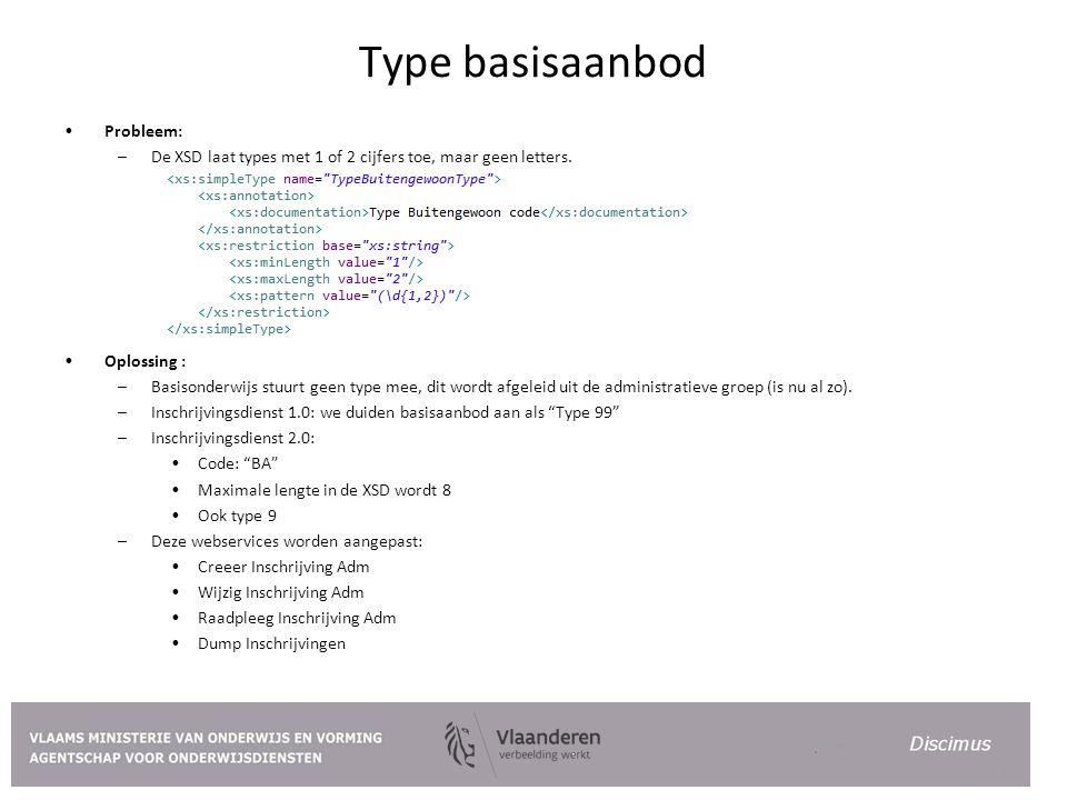 Type basisaanbod Probleem: –De XSD laat types met 1 of 2 cijfers toe, maar geen letters. Oplossing : –Basisonderwijs stuurt geen type mee, dit wordt a
