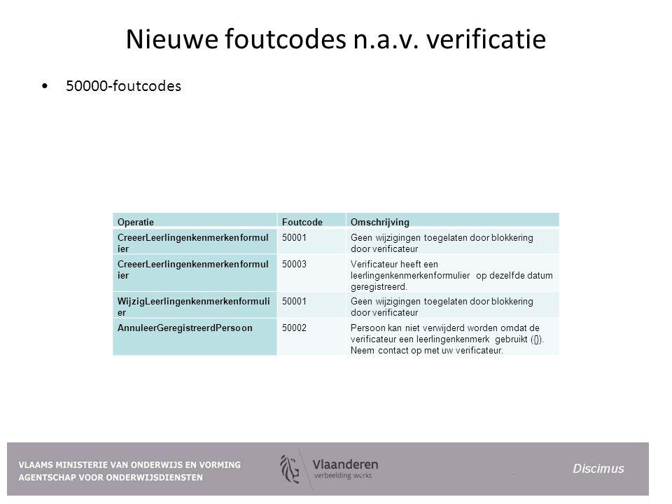 Nieuwe foutcodes n.a.v. verificatie 50000-foutcodes OperatieFoutcodeOmschrijving CreeerLeerlingenkenmerkenformul ier 50001Geen wijzigingen toegelaten