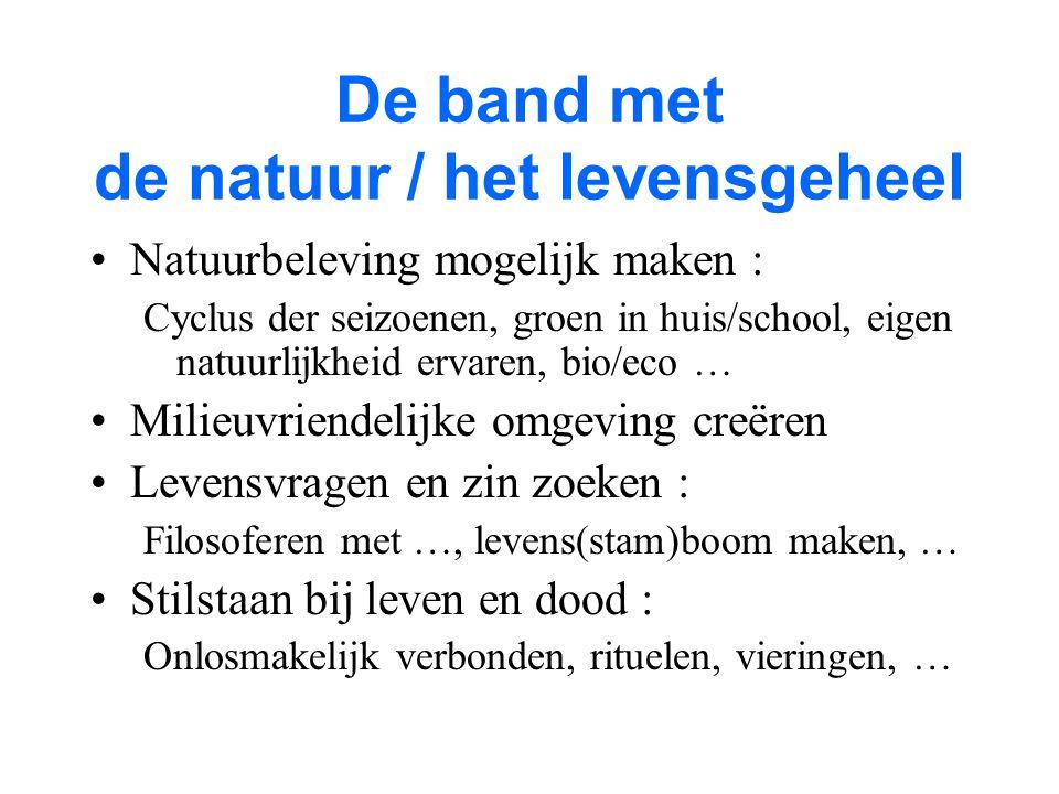 De band met de natuur / het levensgeheel Natuurbeleving mogelijk maken : Cyclus der seizoenen, groen in huis/school, eigen natuurlijkheid ervaren, bio