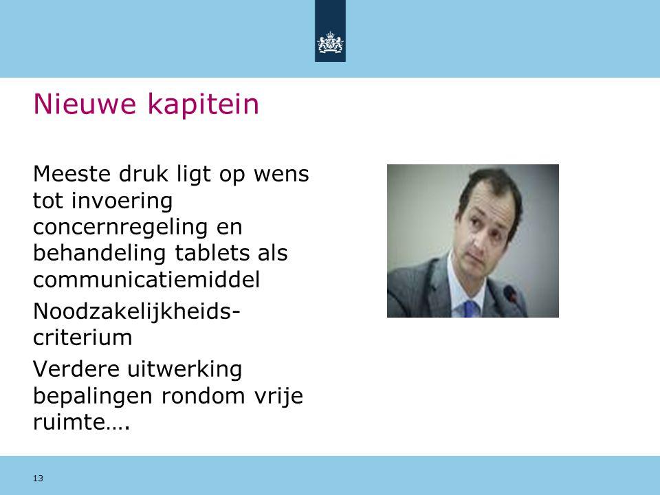 Nieuwe kapitein Meeste druk ligt op wens tot invoering concernregeling en behandeling tablets als communicatiemiddel Noodzakelijkheids- criterium Verd
