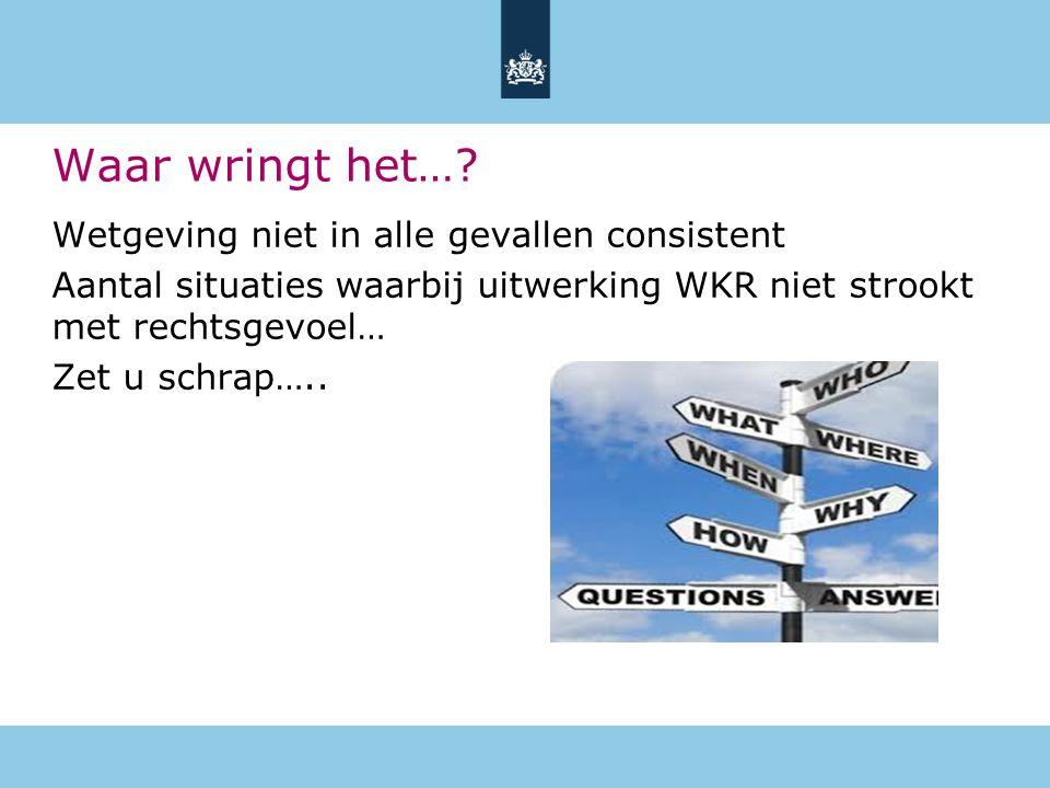 Wetgeving niet in alle gevallen consistent Aantal situaties waarbij uitwerking WKR niet strookt met rechtsgevoel… Zet u schrap….. Waar wringt het…?