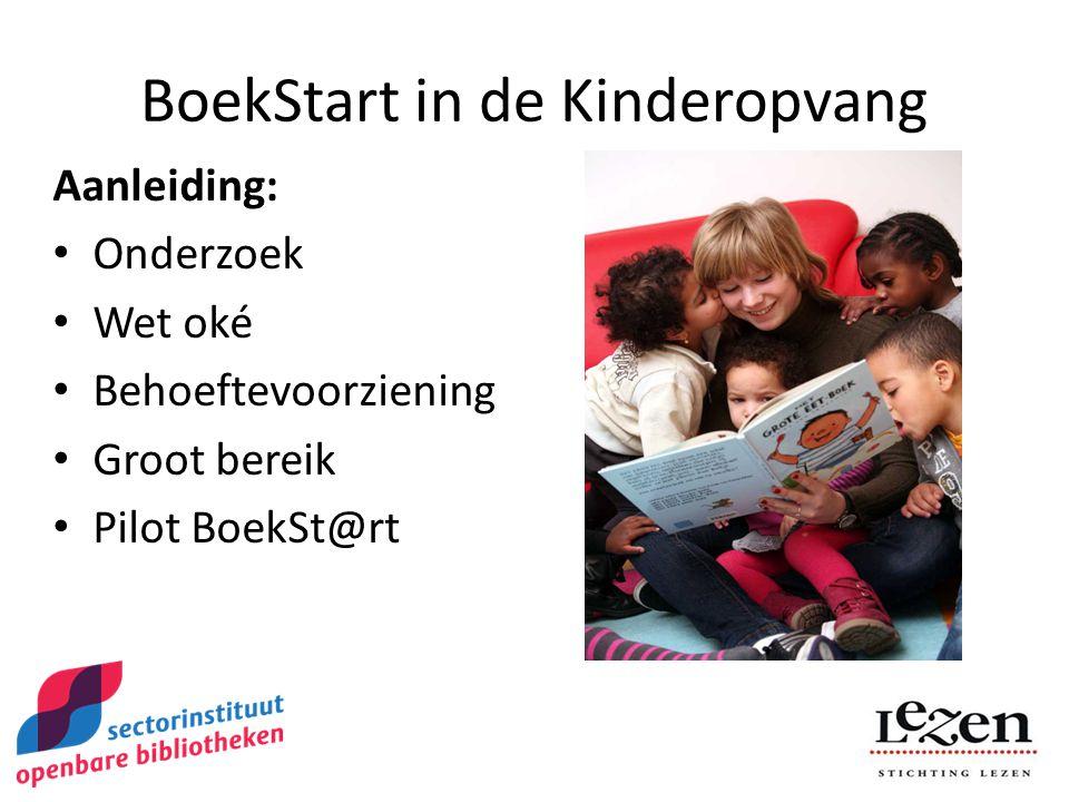 BoekStart in de Kinderopvang Aanleiding: Onderzoek Wet oké Behoeftevoorziening Groot bereik Pilot BoekSt@rt