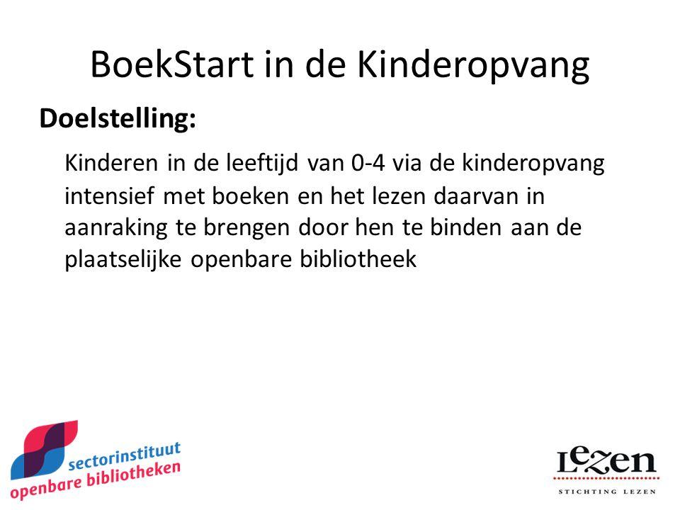BoekStart in de Kinderopvang Doelstelling: Kinderen in de leeftijd van 0-4 via de kinderopvang intensief met boeken en het lezen daarvan in aanraking te brengen door hen te binden aan de plaatselijke openbare bibliotheek