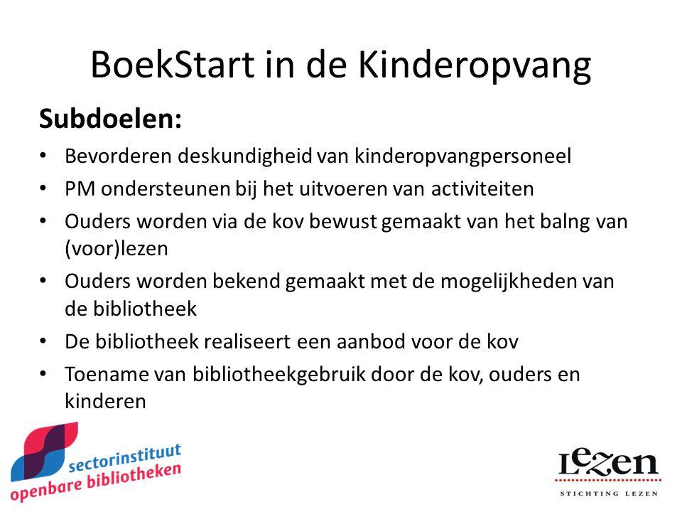 BoekStart in de Kinderopvang Subdoelen: Bevorderen deskundigheid van kinderopvangpersoneel PM ondersteunen bij het uitvoeren van activiteiten Ouders worden via de kov bewust gemaakt van het balng van (voor)lezen Ouders worden bekend gemaakt met de mogelijkheden van de bibliotheek De bibliotheek realiseert een aanbod voor de kov Toename van bibliotheekgebruik door de kov, ouders en kinderen
