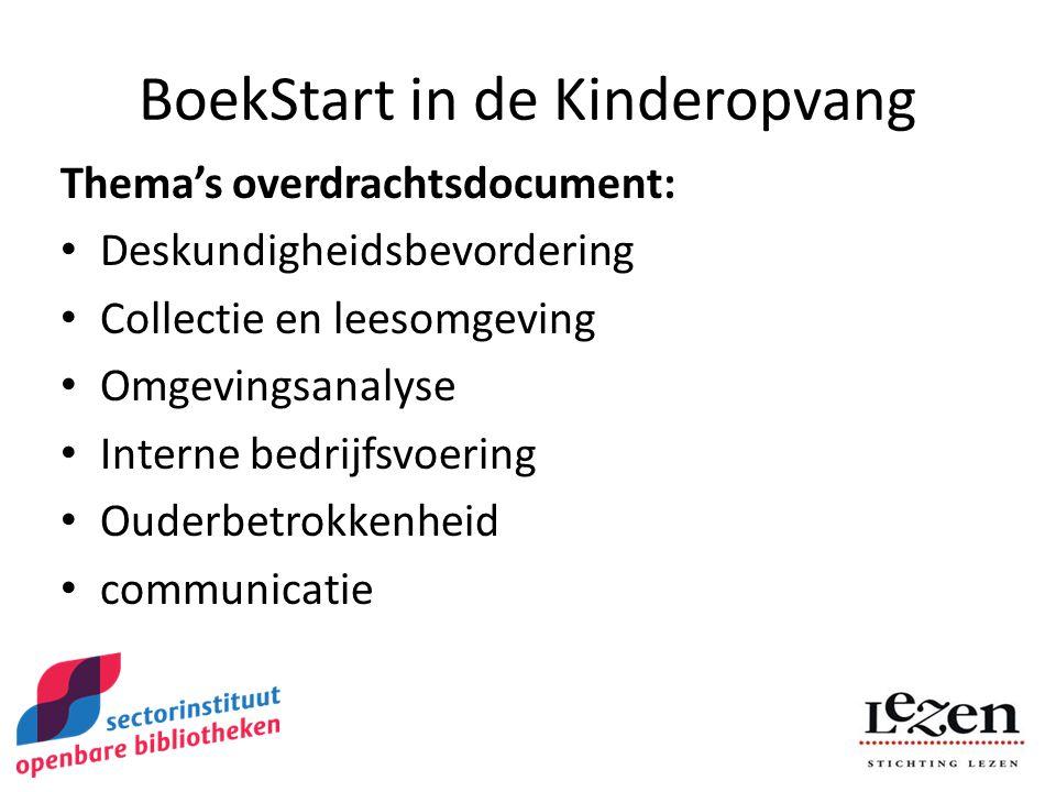 BoekStart in de Kinderopvang Thema's overdrachtsdocument: Deskundigheidsbevordering Collectie en leesomgeving Omgevingsanalyse Interne bedrijfsvoering Ouderbetrokkenheid communicatie