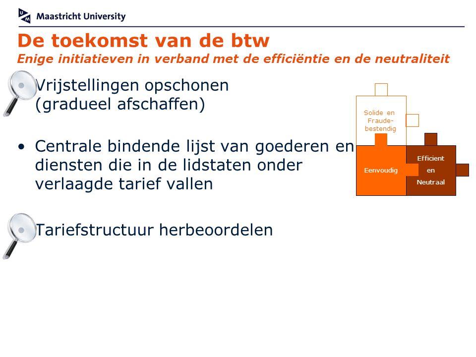 De toekomst van de btw Enige initiatieven in verband met de efficiëntie en de neutraliteit Vrijstellingen opschonen (gradueel afschaffen) Centrale bin