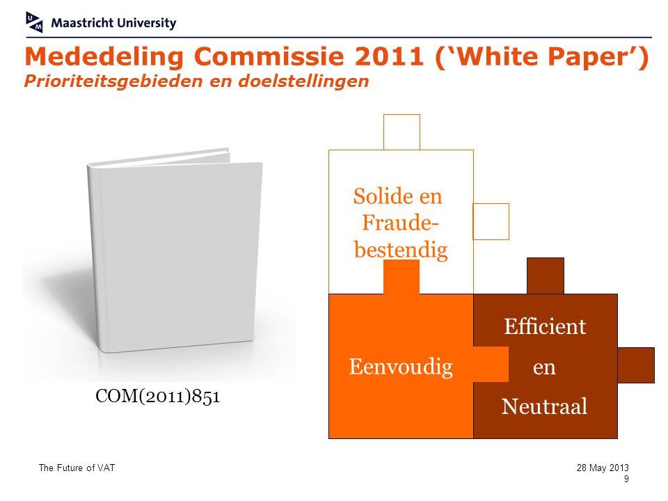 Mededeling Commissie 2011 ('White Paper') Prioriteitsgebieden en doelstellingen Solide en Fraude- bestendig Efficient en Neutraal Eenvoudig COM(2011)8