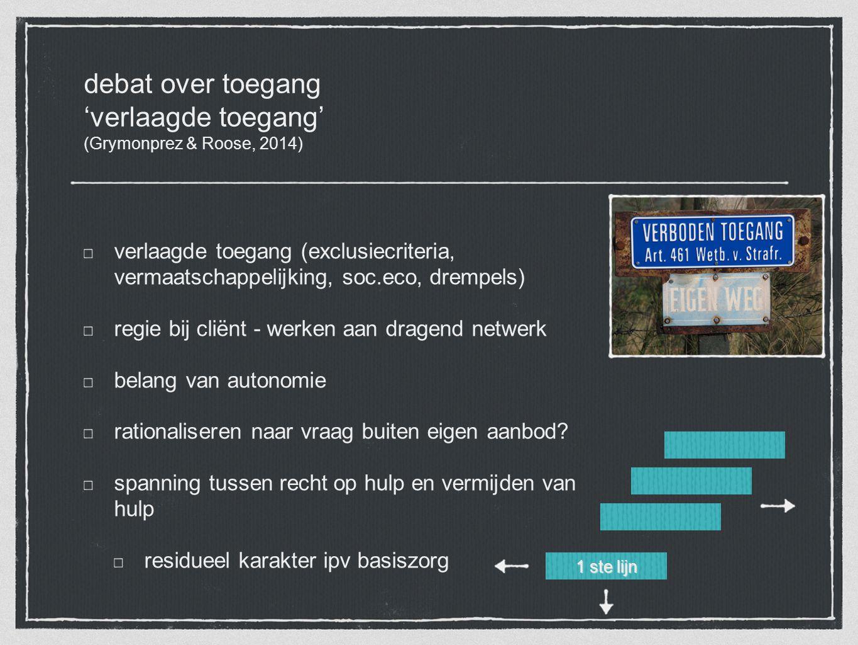 debat over toegang 'verlaagde toegang' (Grymonprez & Roose, 2014) verlaagde toegang (exclusiecriteria, vermaatschappelijking, soc.eco, drempels) regie