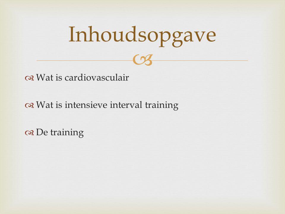   Wat is cardiovasculair  Wat is intensieve interval training  De training Inhoudsopgave