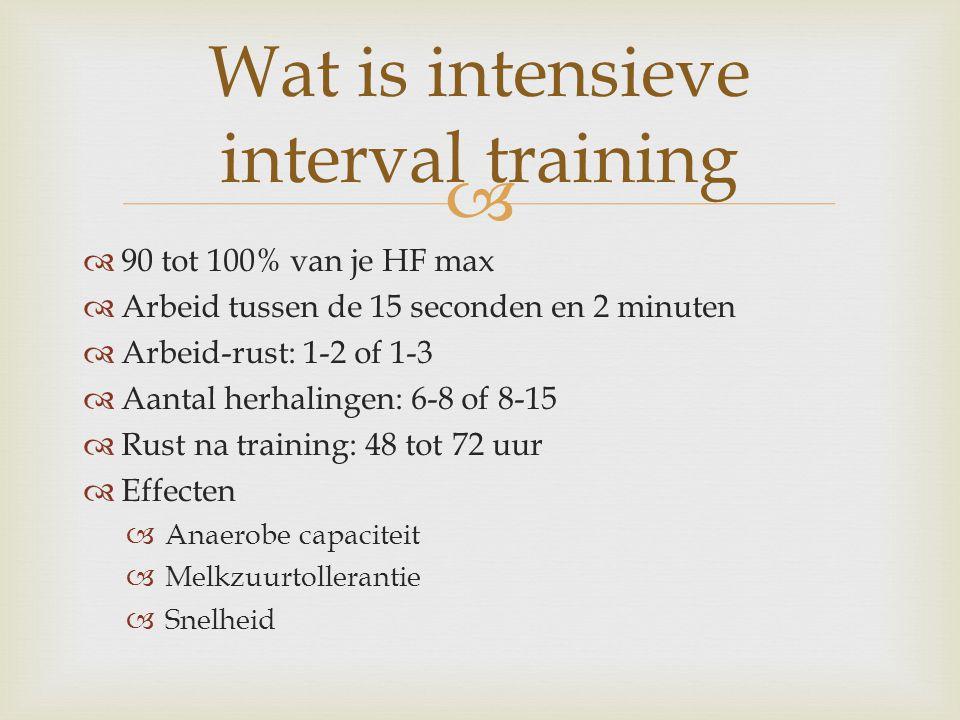  90 tot 100% van je HF max  Arbeid tussen de 15 seconden en 2 minuten  Arbeid-rust: 1-2 of 1-3  Aantal herhalingen: 6-8 of 8-15  Rust na training: 48 tot 72 uur  Effecten  Anaerobe capaciteit  Melkzuurtollerantie  Snelheid Wat is intensieve interval training