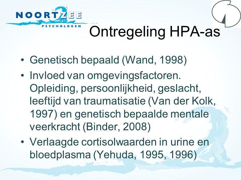 Ontregeling HPA-as Genetisch bepaald (Wand, 1998) Invloed van omgevingsfactoren.