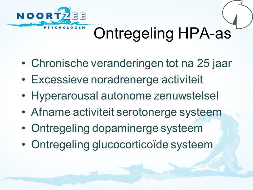 Ontregeling HPA-as Chronische veranderingen tot na 25 jaar Excessieve noradrenerge activiteit Hyperarousal autonome zenuwstelsel Afname activiteit serotonerge systeem Ontregeling dopaminerge systeem Ontregeling glucocorticoïde systeem