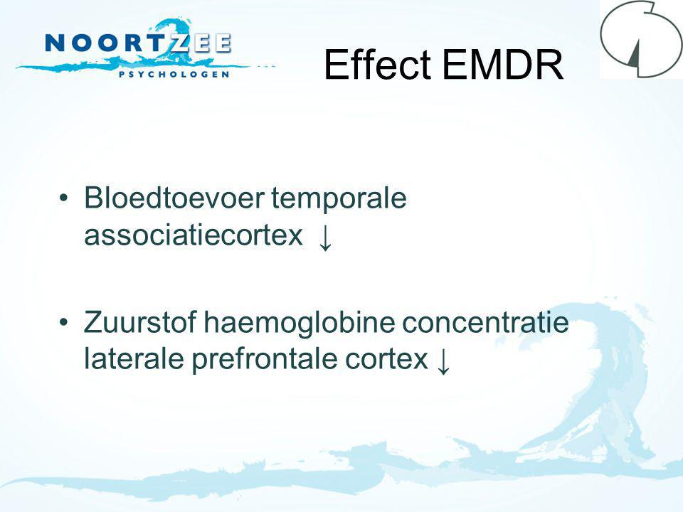Effect EMDR Bloedtoevoer temporale associatiecortex ↓ Zuurstof haemoglobine concentratie laterale prefrontale cortex ↓