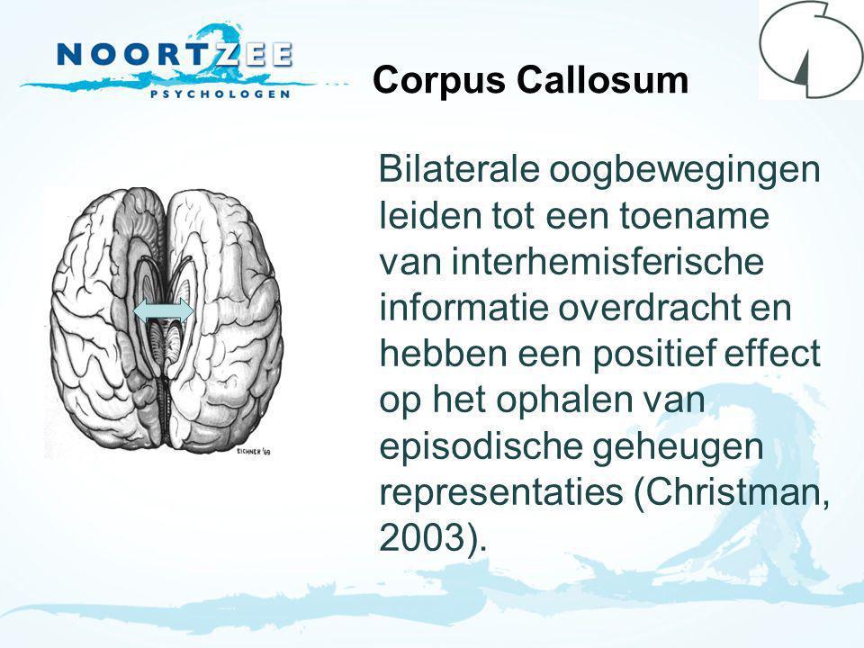 Corpus Callosum Bilaterale oogbewegingen leiden tot een toename van interhemisferische informatie overdracht en hebben een positief effect op het ophalen van episodische geheugen representaties (Christman, 2003).