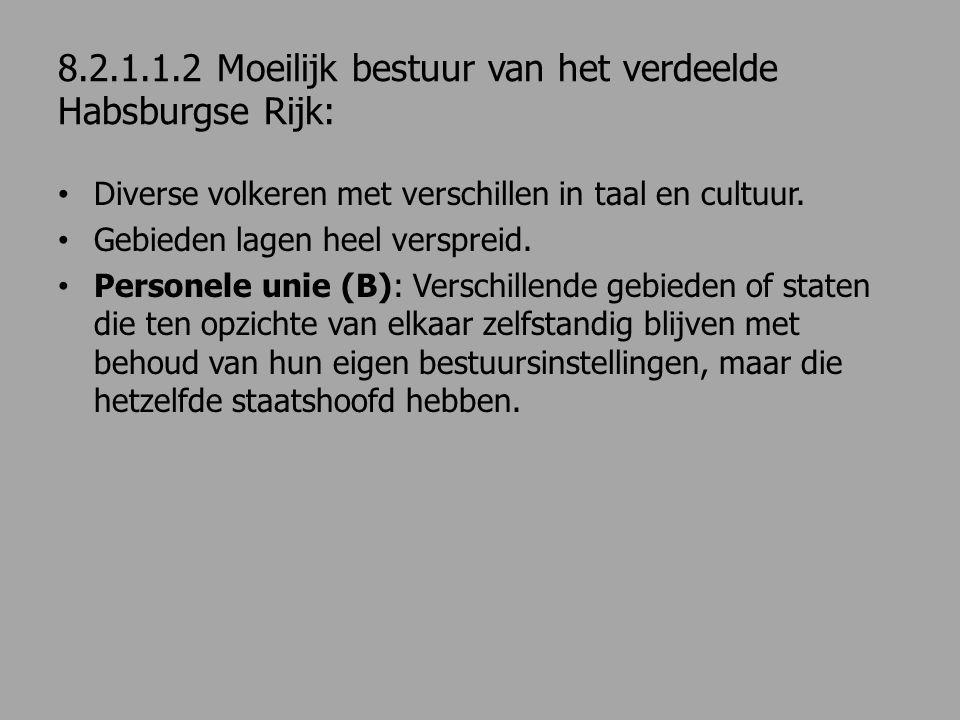 8.2.1.1.2 Moeilijk bestuur van het verdeelde Habsburgse Rijk: Diverse volkeren met verschillen in taal en cultuur. Gebieden lagen heel verspreid. Pers