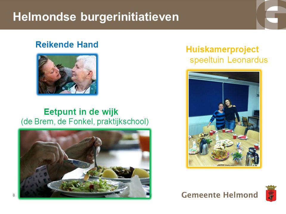 Helmondse burgerinitiatieven 8dd-mm-jjjj Reikende Hand Huiskamerproject speeltuin Leonardus Eetpunt in de wijk (de Brem, de Fonkel, praktijkschool)