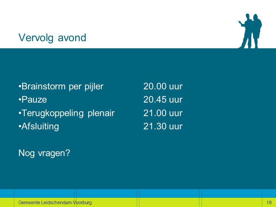 19Gemeente Leidschendam-Voorburg19 Vervolg avond Brainstorm per pijler 20.00 uur Pauze20.45 uur Terugkoppeling plenair21.00 uur Afsluiting21.30 uur Nog vragen