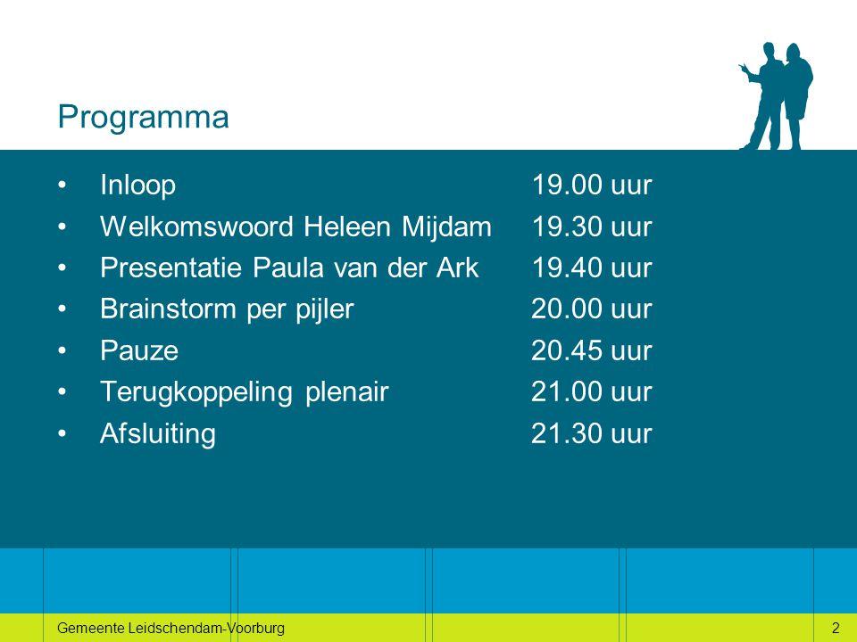 2Gemeente Leidschendam-Voorburg2 Programma Inloop 19.00 uur Welkomswoord Heleen Mijdam19.30 uur Presentatie Paula van der Ark19.40 uur Brainstorm per pijler 20.00 uur Pauze20.45 uur Terugkoppeling plenair21.00 uur Afsluiting21.30 uur