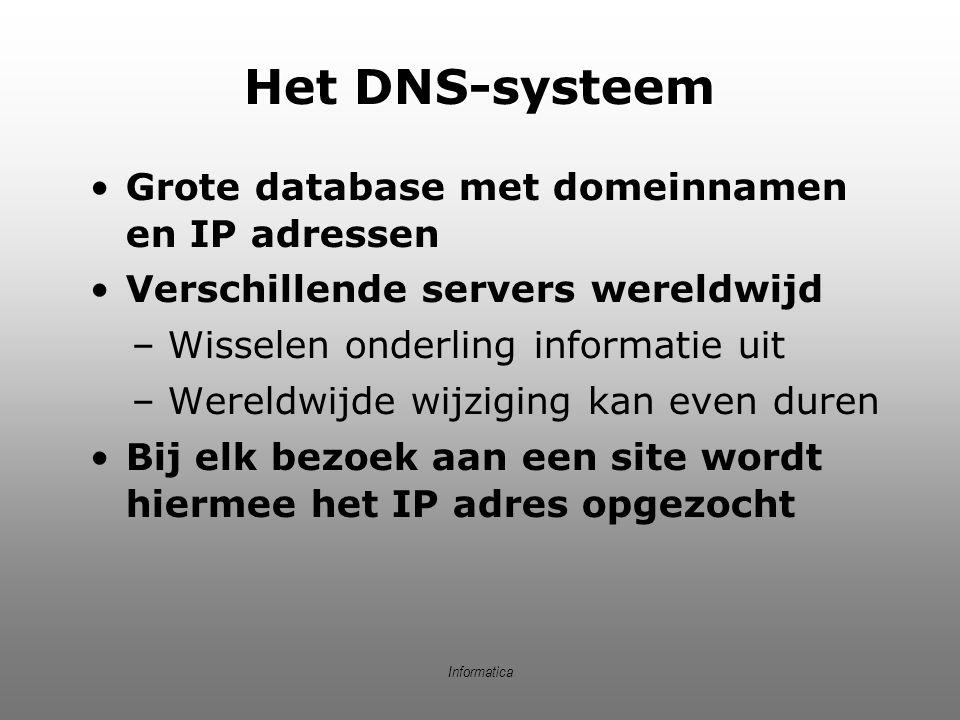 Informatica Het DNS-systeem Grote database met domeinnamen en IP adressen Verschillende servers wereldwijd –Wisselen onderling informatie uit –Wereldw