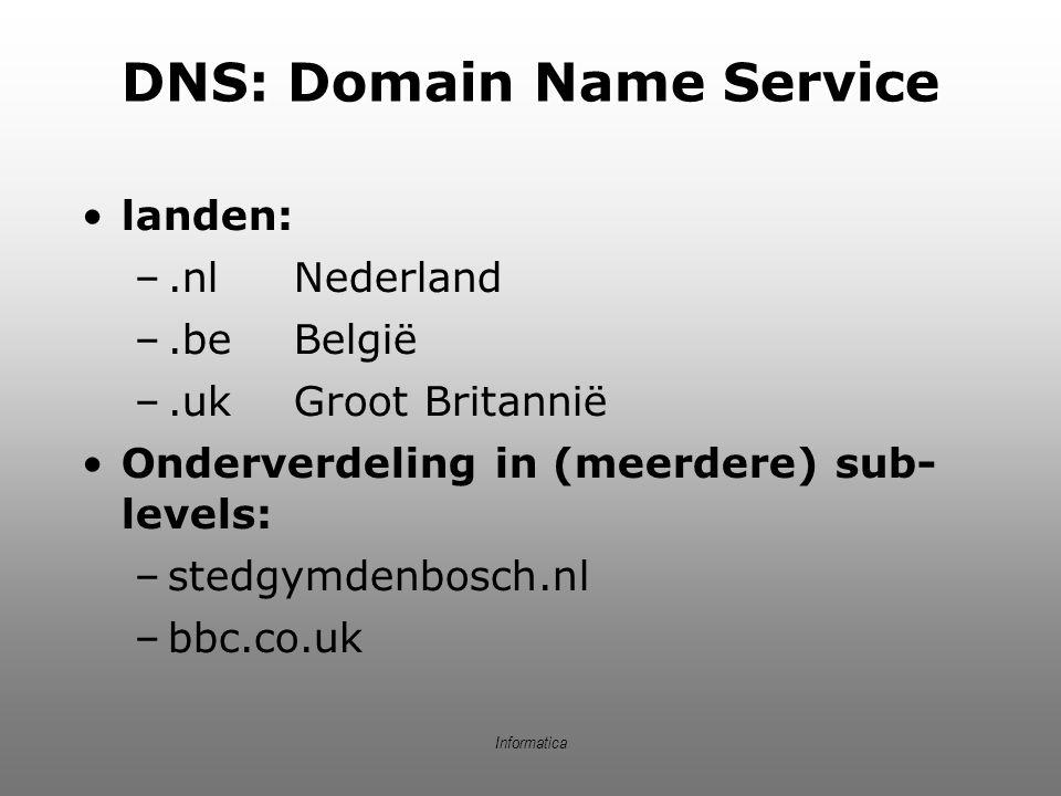 Informatica DNS: Domain Name Service landen: –.nlNederland –.beBelgië –.ukGroot Britannië Onderverdeling in (meerdere) sub- levels: –stedgymdenbosch.n