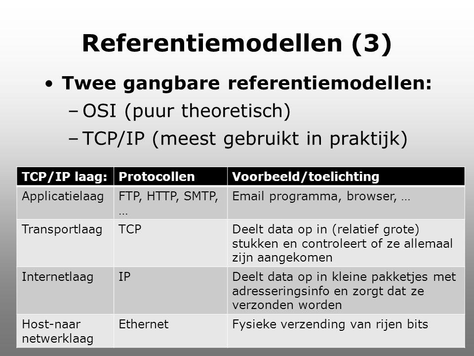 Referentiemodellen (3) Twee gangbare referentiemodellen: –OSI (puur theoretisch) –TCP/IP (meest gebruikt in praktijk) Informatica TCP/IP laag:Protocol