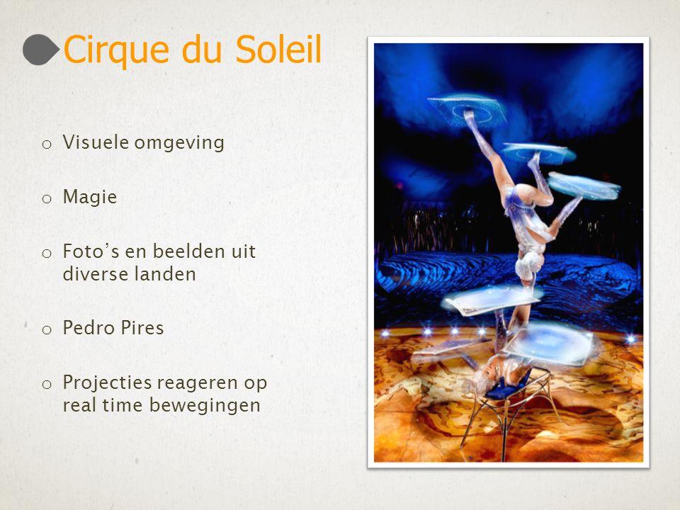 o Visuele omgeving o Magie o Foto's en beelden uit diverse landen o Pedro Pires o Projecties reageren op real time bewegingen Cirque du Soleil