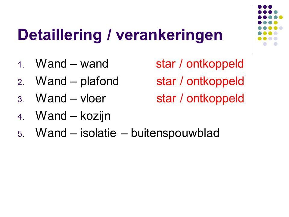 Detaillering / verankeringen 1.Wand – wand star / ontkoppeld 2.