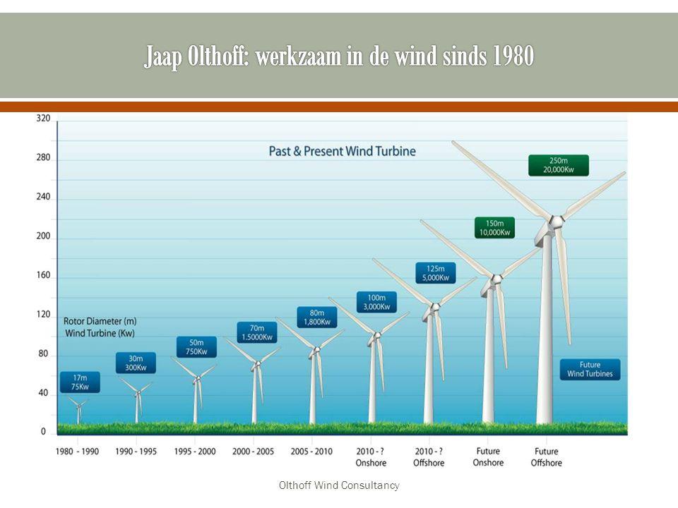 Hoe werkt een moderne windturbine Waarom zo groot De invloed van de gemiddelde windsnelheid Hoeveel levert een windturbine Wat is het rendement van een windturbine Veiligheid: o Ijs afworp o Op hol slaan o Brand o Afbrekende rotorbladen Hinder aspecten o Geluid o Zicht o Vogel aanvaringen o Slagschaduw Olthoff Wind Consultancy