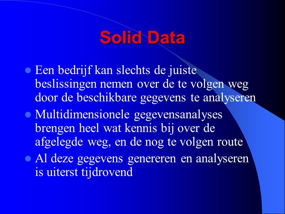 Solid Data Een bedrijf kan slechts de juiste beslissingen nemen over de te volgen weg door de beschikbare gegevens te analyseren Multidimensionele gegevensanalyses brengen heel wat kennis bij over de afgelegde weg, en de nog te volgen route Al deze gegevens genereren en analyseren is uiterst tijdrovend